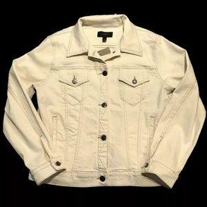 New J. Crew denim jean jacket ivory ecru size XL